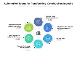 Automation Ideas For Transforming Construction Industry