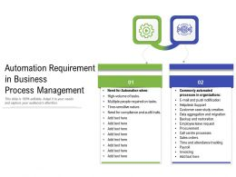 Automation Requirement In Business Process Management