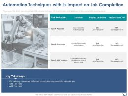 Automation Techniques With Its Impact On Job Completion Ppt Powerpoint Presentation Samples