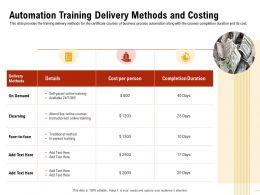 Automation Training Delivery Methods Completion Duration Ppt Presentation Portfolio