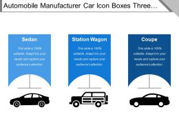 Automobile Manufacturer Car Icon Boxes Three Steps