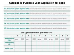 Automobile Purchase Loan Application For Bank