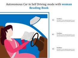 Autonomous Car In Self Driving Mode With Woman Reading Book
