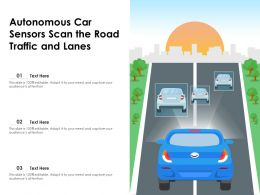 Autonomous Car Sensors Scan The Road Traffic And Lanes