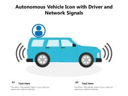 Autonomous Vehicle Icon With Driver And Network Signals