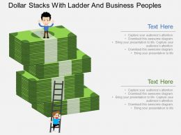 av Dollar Stacks With Ladder And Business Peoples Flat Powerpoint Design