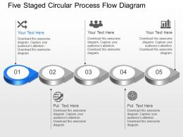 Av Five Staged Circular Process Flow Diagram Powerpoint Template Slide