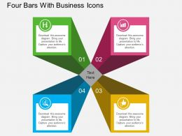av Four Bars With Business Icons Flat Powerpoint Design