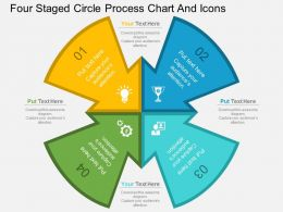 av Four Staged Circle Process Chart And Icons Flat Powerpoint Design