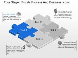 Av Four Staged Puzzle Process And Business Icons Powerpoint Template