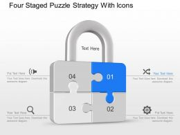 av Four Staged Puzzle Strategy With Icons Powerpoint Template
