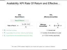 Availability Kpi Rate Of Return And Effective Annual Rate