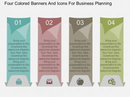 aw Four Colored Banners And Icons For Business Planning Flat Powerpoint Design