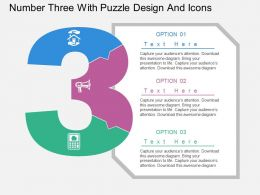 aw Number Three With Puzzle Design And Icons Flat Powerpoint Design