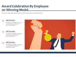 Award Celebration By Employee On Winning Medal