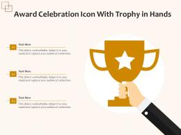 Award Celebration Icon With Trophy In Hands