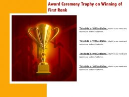 Award Ceremony Trophy On Winning Of First Rank