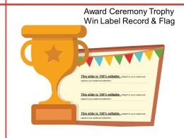 Award Ceremony Trophy Win Label Record And Flag