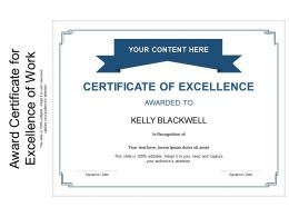 Award Certificate For Excellence Of Work