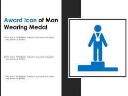 Award Icon Of Man Wearing Medal