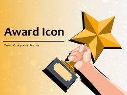 Award Icon Trophy Displaying Wearing Medal Shield Petals Winning