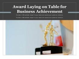 Award Laying On Table For Business Achievement