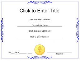 Award Recognition diploma Certificate Template of Achievement completion PowerPoint for adults kids