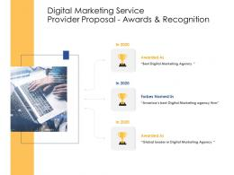 Awards And Recognition Digital Marketing Service Provider Proposal Ppt Powerpoint Samples