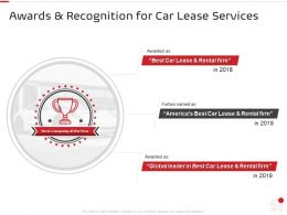 Awards And Recognition For Car Lease Services Ppt Powerpoint Presentation Visual Aids