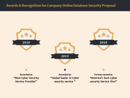 Awards And Recognition For Company Online Database Security Proposal Ppt File Formats