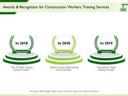 Awards And Recognition For Construction Workers Training Services Service Provider Ppt Presentation Templates