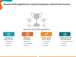 Awards And Recognition For Corporate Employees Cultural Event Services Ppt Presentation Slide
