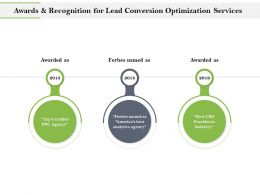 Awards And Recognition For Lead Conversion Optimization Services Ppt Topics