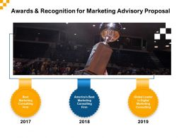 Awards And Recognition For Marketing Advisory Proposal Ppt Inspiration Icons
