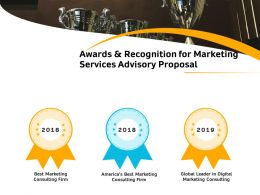 Awards And Recognition For Marketing Services Advisory Proposal Ppt Demonstration