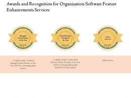 Awards And Recognition For Organization Software Feature Enhancements Services Ppt Show
