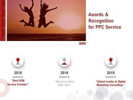 Awards And Recognition For PPC Service Ppt Powerpoint Presentation Slides