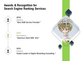 Awards And Recognition For Search Engine Ranking Services Global Leader Ppt Presentation Slide