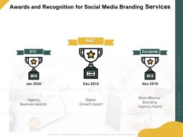 Awards And Recognition For Social Media Branding Services Ppt Powerpoint Deck