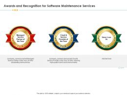 Awards And Recognition For Software Maintenance Services Provider Ppt Inspiration