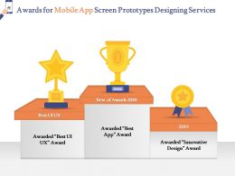 Awards For Mobile App Screen Prototypes Designing Services Ppt Powerpoint Pictures