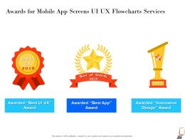 Awards For Mobile App Screens UI UX Flowcharts Services Best App Ppt Powerpoint Presentation Guide