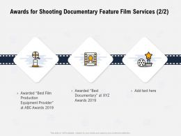 Awards For Shooting Documentary Feature Film Services Equipment Provider Ppt Powerpoint Presentation Graphics