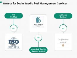 Awards For Social Media Post Management Services Ppt Powerpoint Presentation Layouts Styles