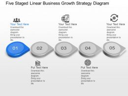 Ax Five Staged Linear Business Growth Strategy Diagram Powerpoint Template Slide