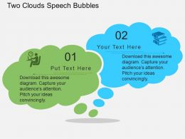 ax Two Clouds Speech Bubbles Flat Powerpoint Design
