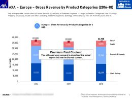 AXA Europe Gross Revenue By Product Categories 2016-18