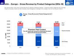 AXA Europe Gross Revenue By Product Categories 2016-18