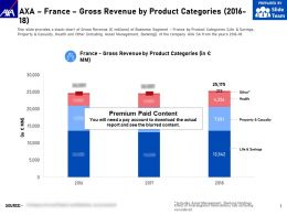 AXA France Gross Revenue By Product Categories 2016-18