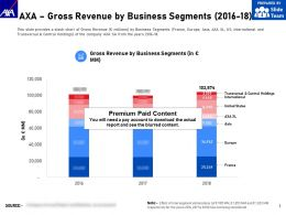 AXA Gross Revenue By Business Segments 2016-18